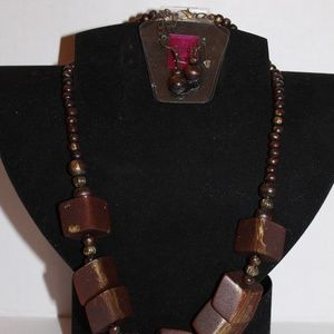 Wood Necklace and Earrings set
